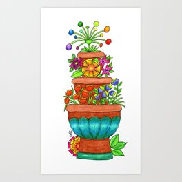 Fiesta Flower Fountain Art Print