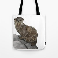 otter Tote Bags featuring Otter by ZHField