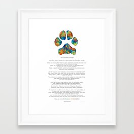 Rainbow Bridge Poem With Colorful Paw Print by Sharon Cummings Framed Art Print