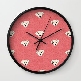 Puppy Love Red Heart Pattern Wall Clock