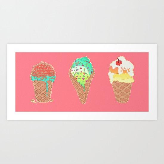Neon Cones Art Print