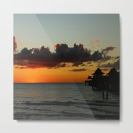 Naples Pier Sunset Metal Print