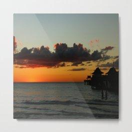 Naples Pier Sunset Metal Print