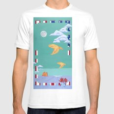 Take to the Sky White MEDIUM Mens Fitted Tee