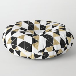 Modern Black, White, and Faux Gold Triangles Floor Pillow