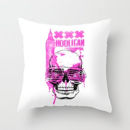 UK Hooligan Skull in Sunglasses Throw Pillow