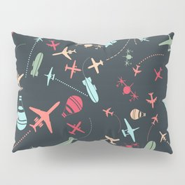 Black Airplane and Aviation Pattern Pillow Sham