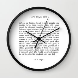 Live, life, love long inspiring typographical quote art print  by A. W. Doys Wall Clock
