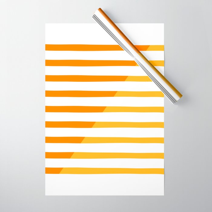 Beach Stripes Orange Yellow Wrapping Paper