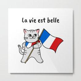 La vie est belle French cat Metal Print