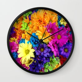 Neon Flowers at market Wall Clock