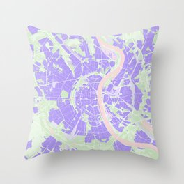 Cologne map violet Throw Pillow