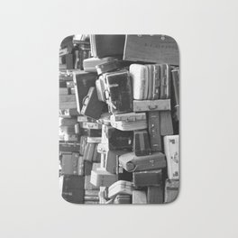 TOWER OF LUGGAGE in Black & White Bath Mat