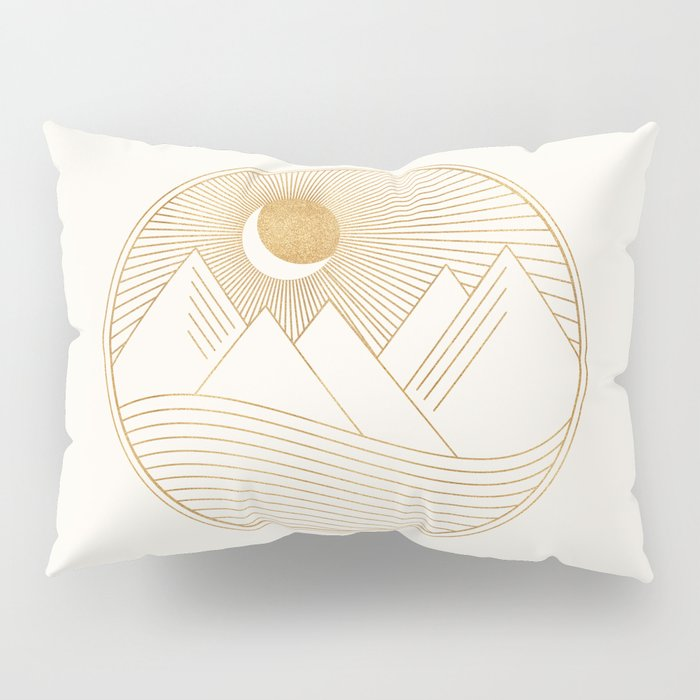 Golden Sunset Landscape with Mountains Pillow Sham