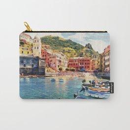 Vernazza on Italian Riviera, sea boats coastal houses, Italy marine nature travel art poster Carry-All Pouch