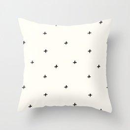 Minimal Positive Black + Off White Pattern Throw Pillow
