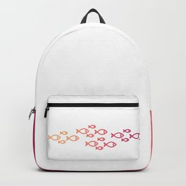 Fish Icons in flat style. Backpack