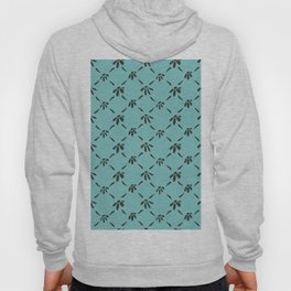 Floral Geometric Pattern Chocolate Brown Aqua Sky Hoody