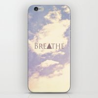 breathe iPhone & iPod Skins featuring Breathe by Rachel Burbee