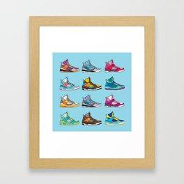 Colorful Sneaker set illustration blue illustration original pop art graphic print Framed Art Print