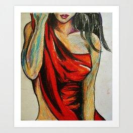 Pensive Red dress Art Print