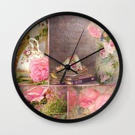 Rose de Francais Collage Wall Clock