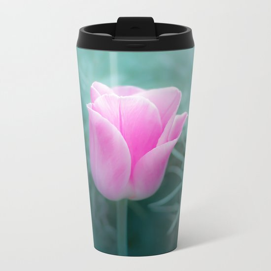 Pink Blossom Tulip Metal Travel Mug