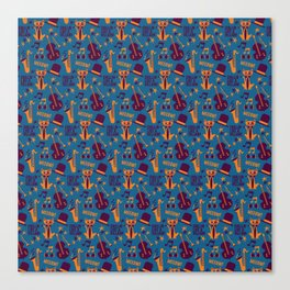 Cool Cat Pattern by Holly Shropshire Canvas Print