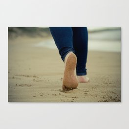 Walking In Sand By the Sea Side Canvas Print