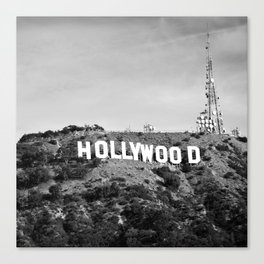Hollywood California Sign in Black and White - Square Format Canvas Print