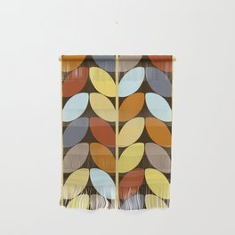 Retro 70s Color Palette Leaf Pattern Wall Hanging