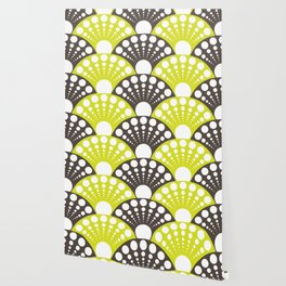 brown and lime art deco inspired fan pattern Wallpaper