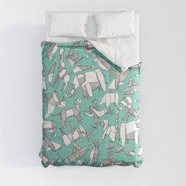 origami animal ditsy mint Comforters