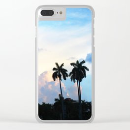 46. Cuban Palm Tree Sunset, Cuba Clear iPhone Case