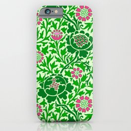 Jacobean Floral Wallpaper, Emerald and Lime Green iPhone Case