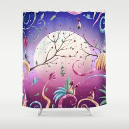 Magical village in spring at night Shower Curtain