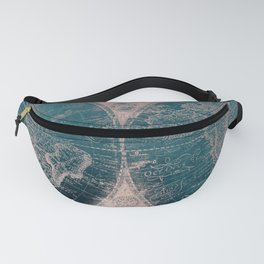 Antique Map Rose Gold Navy Blue Fanny Pack