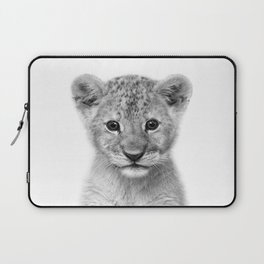 Baby Lion Black & White, Baby Animals Art Print by Synplus Laptop Sleeve