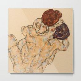 """Egon Schiele """"Mann und Frau, Umarmung"""" Metal Print"""