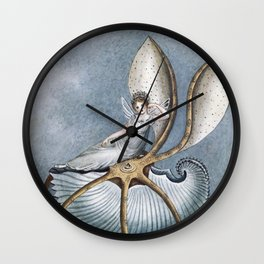 """""""Fairy Resting On A Shell"""" by Amelia Jane Murray Wall Clock"""