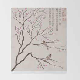 Chinese Painting -Spring (Birds) Plum Blossom  Throw Blanket