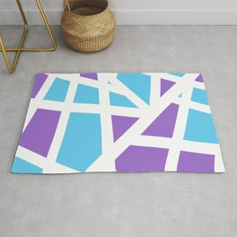 Abstract Interstate  Roadways Aqua Blue & Violet Color Rug