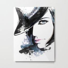 Fashion Beauty, Fashion Painting, Fashion IIlustration, Vogue Portrait, Black and White, #15 Metal Print