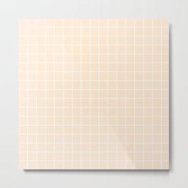 Flesh - pink color - White Lines Grid Pattern Metal Print