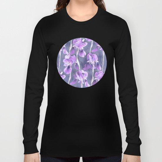 Simple Iris Pattern in Pastel Purple Long Sleeve T-shirt