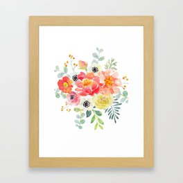 Watercolor bouquets with pink flowers Framed Art Print