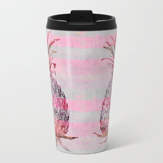 pink pineapple graphic mixed media art Metal Travel Mug