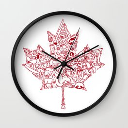 Maple Leaf - red Wall Clock