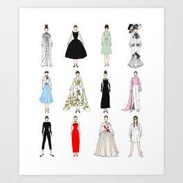 Outfits of Audrey Hepburn Fashion (White) Art Print