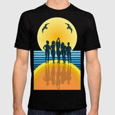 midnight on the beach  Black Mens Fitted Tee MEDIUM